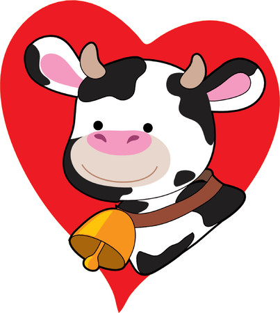 Black and White Cow on a Heart Vettoriali