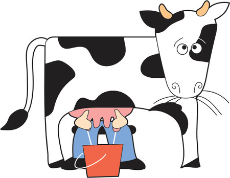Guernsey cow being milked by farmer Stock Vector - 839139