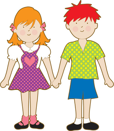 Cute young boy and girl holding hands