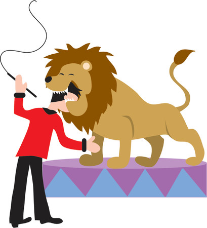 Lion tamer  putting his head in a lions mouth Vector