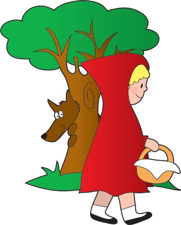 바구니와 숲에 어린 소녀