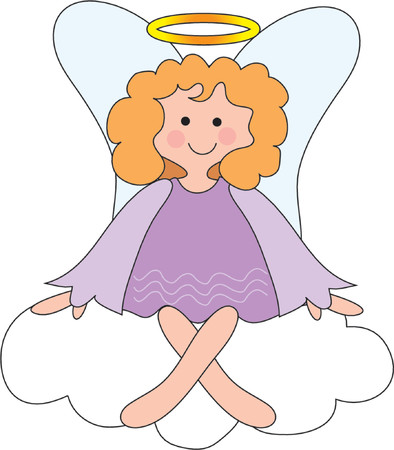 wing figure: Pretty angel on a cloud with a halo  Illustration