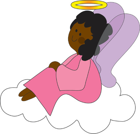 Pretty angel on a cloud with a halo  Ilustracja