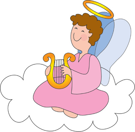 Pretty angel on a cloud with a halo and harp