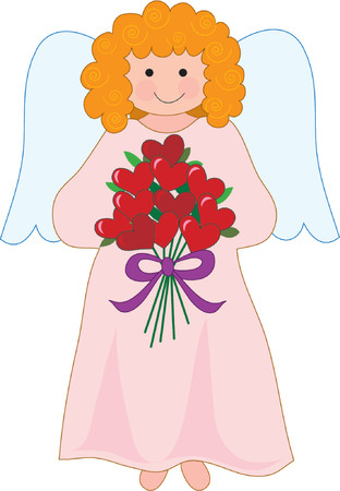 guardian angel: Pretty angel holding a bouquet of hearts