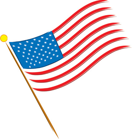 American flag on a white background with 50 stars Vector