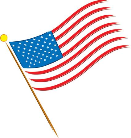 Amerikanische Flagge auf wei�em Hintergrund mit 50 Sternen  Illustration