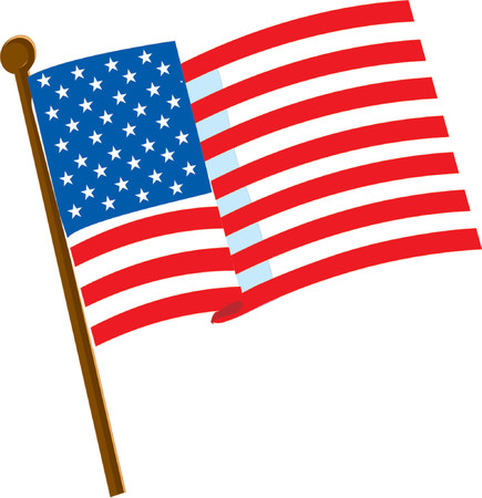 white wave: American flag on a white background with 50 stars