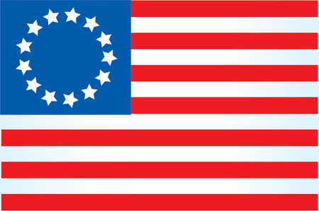 American flag on a white background with 13 stars Ilustração
