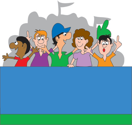 baseball cap: Sports fans yelling in an outdoor stadium Illustration