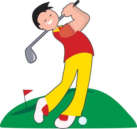 driving range: Golfer hitting a ball on a fairway