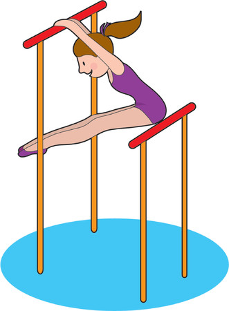 Young female gymnast on the uneven bars