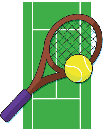 raquet: Tennis ball and raquet on a tennis court
