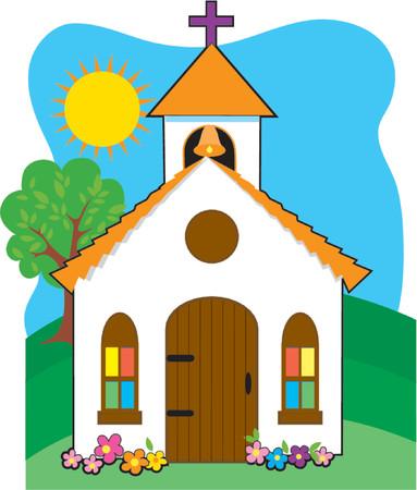 window church: Piccola chiesa in un paese collina erbosa Vettoriali