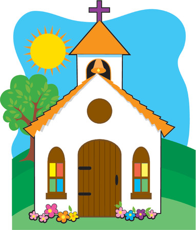 church window: Small country church on a grassy hill