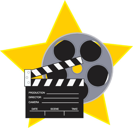 Movie reel and clapboard with a star background Illustration