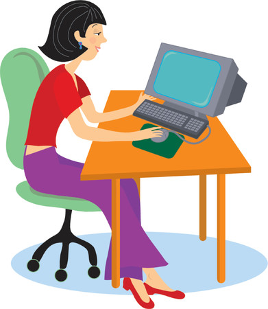 Young girl student sitting at a computer