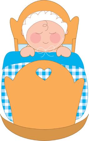 diminuto: Baby ni�o en una cuna con una manta gingham  Vectores