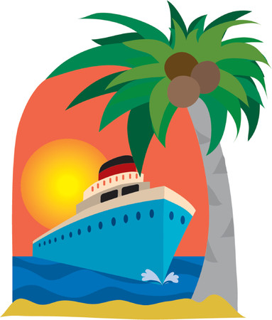 port: Cruise ship and palm tree on a sunset background