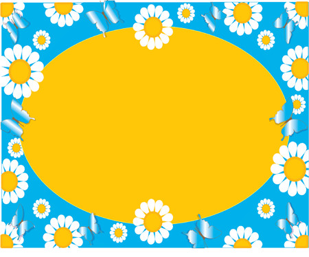 Floral Daisy background with a yellow oval