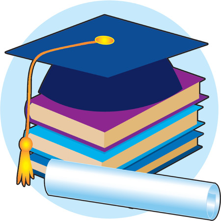 Graduation cap, stack of books and diploma Stock Vector - 964127