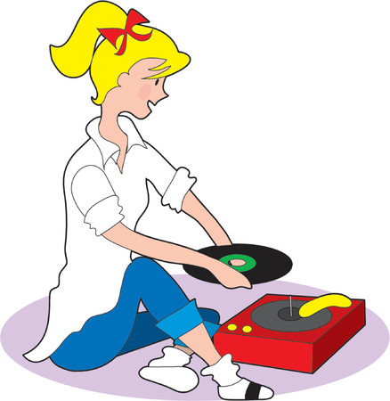 phonograph: Young fifties style girl playing records on a phonograph