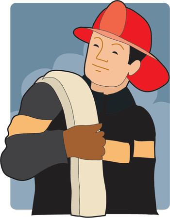 Male firefighter with hose over his shoulder Stock Vector - 964129