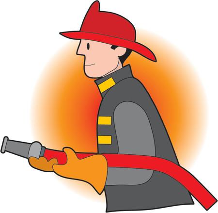 M�nnliche Feuerwehrmann, die eine Feuer-Schlauch und tr�gt einen Helm
