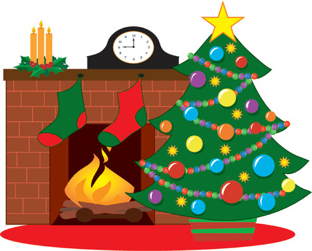christmas fireplace: Christmas tree by a fireplace decorated with stockings