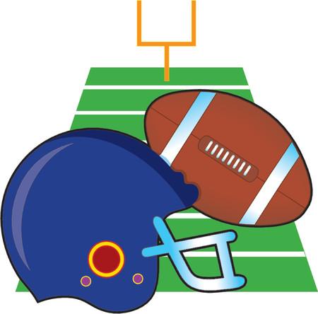 Football and helmet on a football field Stok Fotoğraf - 964133