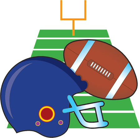 Football and helmet on a football field