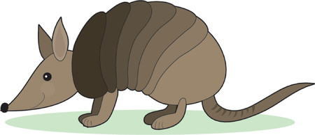 A six banded armadillo on a green oval