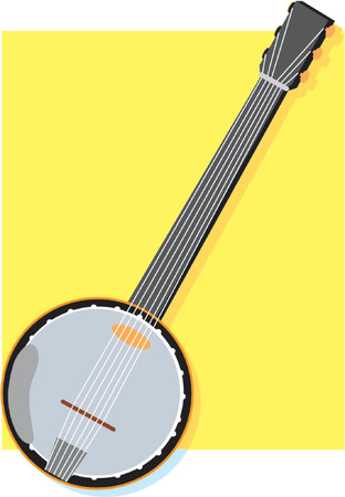 hillbilly: Solitary banjo on a yellow square background Illustration