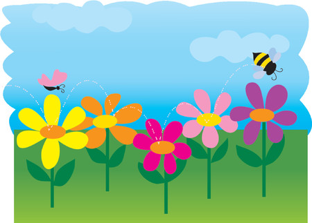 springtime: A bee and a butterfly in a spring garden