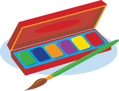 An artist's box of watercolor paints and a brush Ilustrace