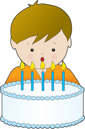 Young boy blowing out the candles on his birthday cake Vector