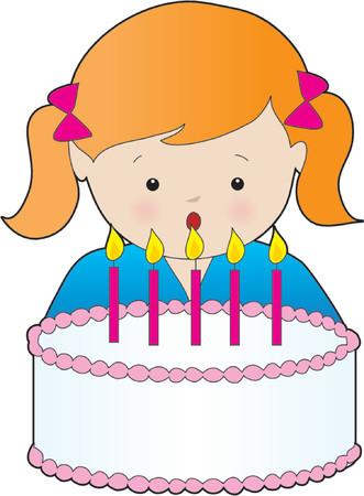 soplar: Ni�a soplando las velas de su torta de cumplea�os