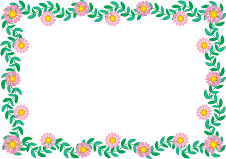 A rectangular floral border featuring pink daisies