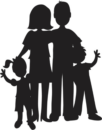 apa: Black silhouette of father,mother and two children