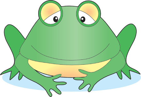 Isolated smiling frog on a white background