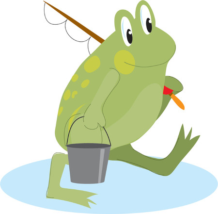 going green: Green frog going fishing with bucket and rod