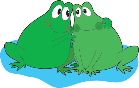 Two frogs cuddling together on a lily pad Ilustrace