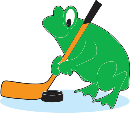 the puck: Green frog playing hockey with a stick and puck