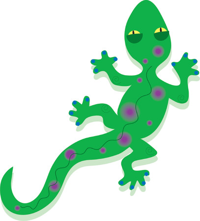 A green gecko with purple spots on a white background