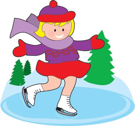얼어 붙은 연못에 어린 소녀 아이스 스케이팅 일러스트