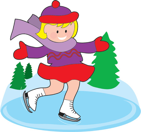 Young girl ice skating on a frozen pond