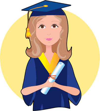 commencement: A young girl in graduation cap and gown with her diploma
