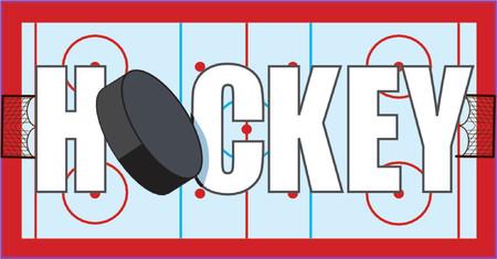 ホッケーのパックと目標とアイス スケート場に書かれて