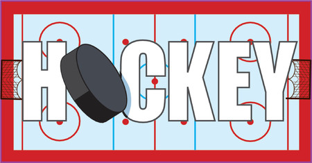 Hockey written on ice rink with puck and goals Illustration