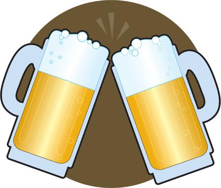 stein: Due birra steins fare un brindisi su sfondo marrone Vettoriali